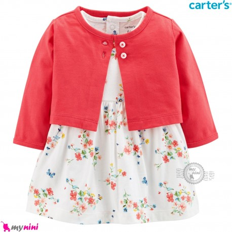 کت و سارافون کارترز اورجینال کت صورتی سارافون گل و پروانه Carter's Bodysuit Dress & Cardigan Set