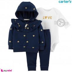 لباس کارترز اورجینال 3 تکه سویشرت سرمه ای قلب بادی سفید Carter's baby boy hooded cardigan set