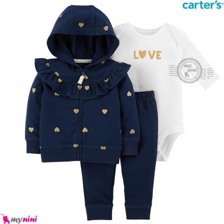 3 تکه لباس کارترز اورجینال سویشرت سرمه ای قلب بادی سفید Carter's baby boy hooded cardigan set