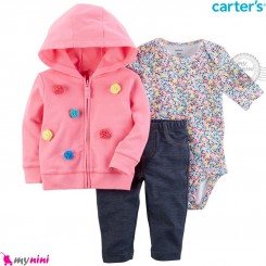 لباس کارترز اورجینال 3 تکه سویشرت صورتی توپ توپی گل Carter's baby boy hooded cardigan set