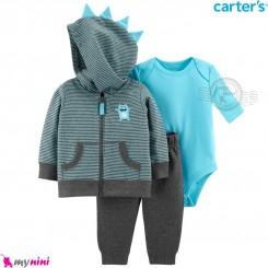 لباس کارترز اورجینال 3 تکه سویشرت نوک مدادی آبی غول Carter's baby boy hooded cardigan set
