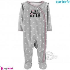 سرهمی گرم کارترز مخملی اورجینال طوسی لیتل سیستر Carters baby fleece pajamas