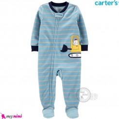 سرهمی گرم کارترز مخملی اورجینال آبی طوسی بولدوزر Carters baby fleece pajamas