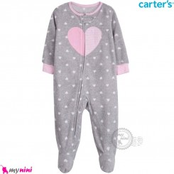 سرهمی گرم کارترز مخملی اورجینال طوسی صورتی قلب Carters baby fleece pajamas