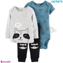 لباس کارترز اورجینال شلوار و بلوز و بادی کوتاه آبی طوسی راکون  Carter's kids clothes set
