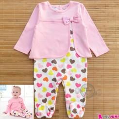 سرهمی مدل دار قلبی مارک مینی کُوکُو mini coco baby cotton overalls