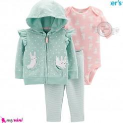 لباس کارترز اورجینال 3 تکه سویشرت سبز خرگوش Carter's baby boy hooded cardigan set