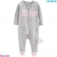 سرهمی کارترز اورجینال نخ پنبه طوسی خالدار لیتل سیستر carter's pajamas