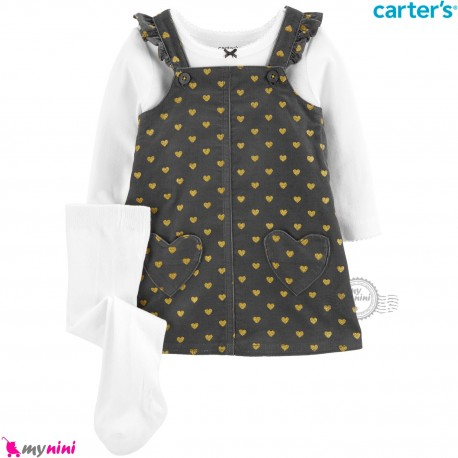 ست لباس کارترز 3 تکه سارافون و بلوز و جوراب شلواری طرح نوک مدادی قلب Carter's Bodysuit Dress & Cardigan Set