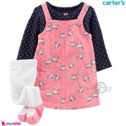 ست لباس کارترز 3 تکه سارافون و بلوز و جوراب شلواری طرح صورتی سرمه ای Carter's Bodysuit Dress & Cardigan Set