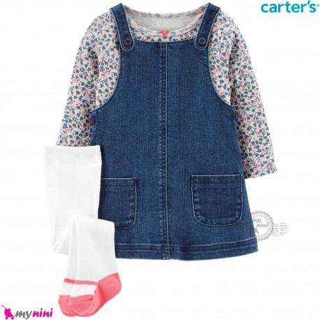 ست لباس کارترز 3 تکه بلوز و جوراب شلواری و سارافون لی Carter's Bodysuit Dress & Cardigan Set