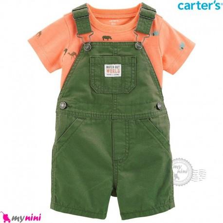 ست بیلرسوت و تیشرت کارترز اصل 2 تکه سبز و نارنجی  Carter's 2-Piece Tee & Shortalls Set